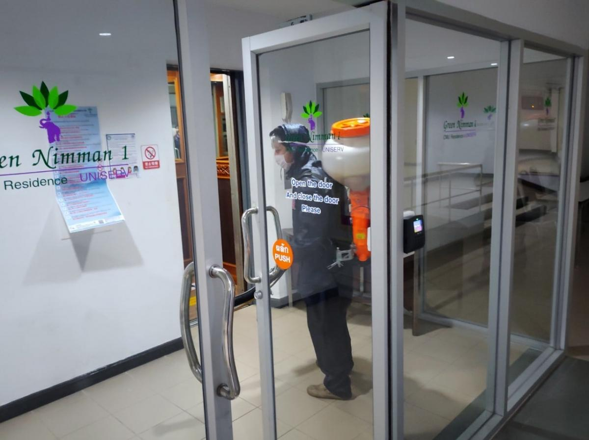 ฉีดพ่นสารฆ่าเชื้อไวรัส Silver Nano ทุกส่วนของอาคารที่มีผู้เข้าใช้บริการ